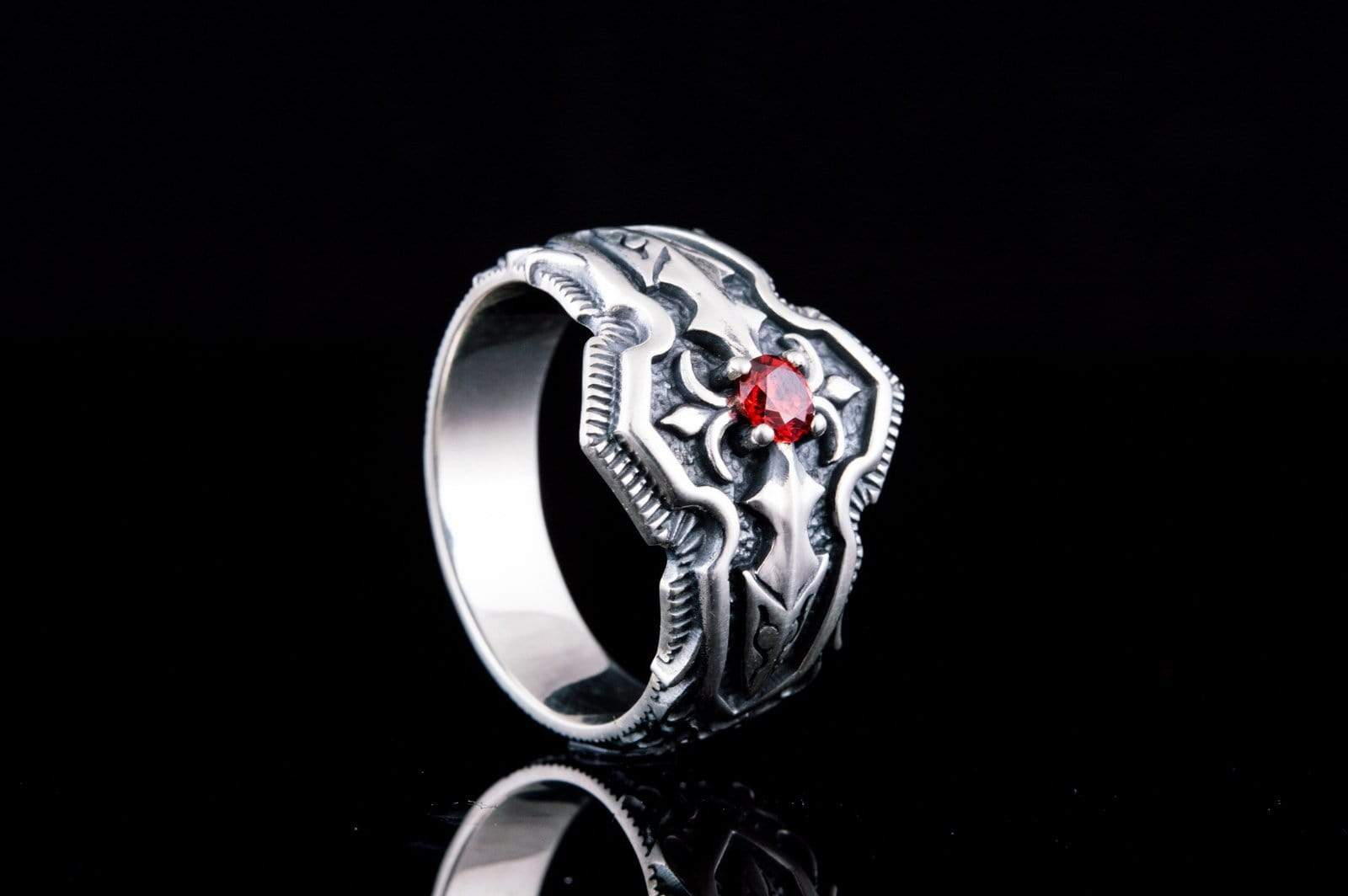 Ancient Smithy VW jewelry Ring with Red Cubic Zirconia Sterling Silver Handmade Jewelry