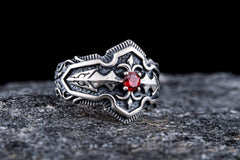 Ring with Red Cubic Zirconia Sterling Silver Handmade Jewelry