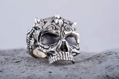 Skull Ring Sterling SIlver Biker Handcrafted Jewelry