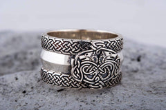 Ancient Smithy VW jewelry Norse Ornament Ring with Wolves 925 Silver Viking Jewelry