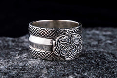 Norse Ornament Ring with Wolves 925 Silver Viking Jewelry