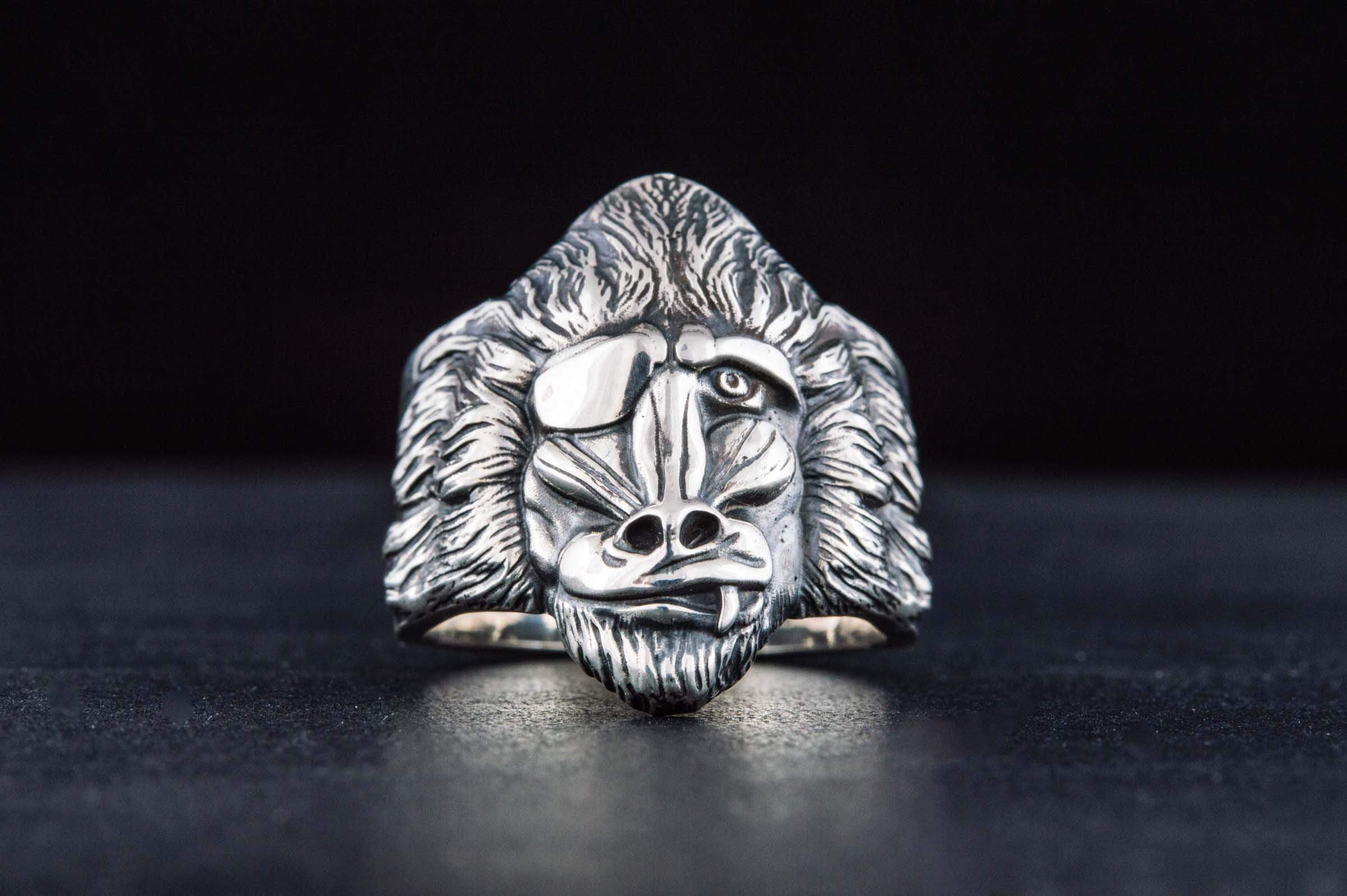 Ring with Monkey Sterling Silver Handmade Jewelry