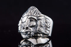 Ancient Smithy VW jewelry Ring with Monkey Sterling Silver Handmade Jewelry