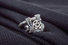 Wicca Ring with Star Symbol Sterling Silver Jewelry