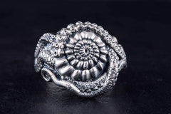 Ancient Smithy VW jewelry Handcrafted Shell Ring Sterlimg Silver Unique Jewelry