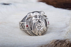 Ancient Smithy VW jewelry Ring with Odin and Raven Sterling Silver Handcrafted Jewelry