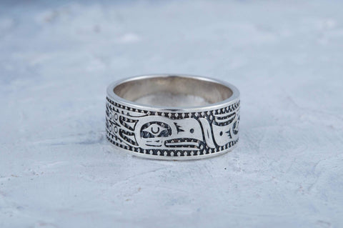 Ancient Smithy VW jewelry Aztec Bird Ornament Ring Sterling Silver Jewelry