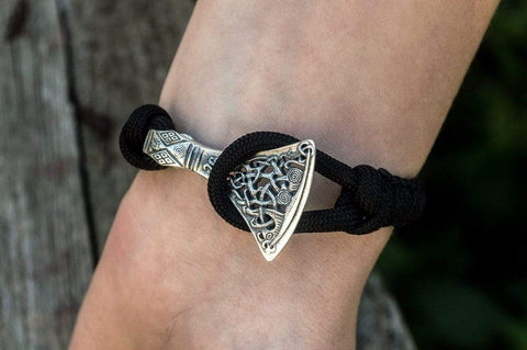 Ancient Smithy VW jewelry Sterling Silver Viking Axe Black Paracord Bracelet Handmdade Jewelry SAB-001