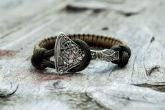 Ancient Smithy VW jewelry Sterling Silver Viking Axe Coyote Paracord Bracelet Handmdade Jewelry SAB-002