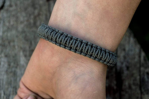 Ancient Smithy VW jewelry Sterling Silver Viking Axe Grey Paracord Bracelet Handmdade Jewelry SAB-003