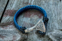 Ancient Smithy VW jewelry Sterling Silver Viking Axe Blue Paracord Bracelet Handmade Jewelry SAB-004