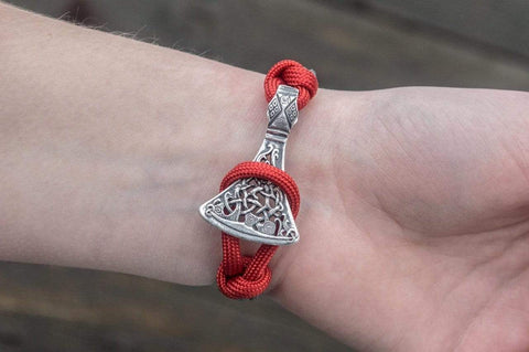 Ancient Smithy VW jewelry SILVER Red and Grey Paracord Bracelet with Viking Hammer and Norse Runes Jewelry SAB-R-001