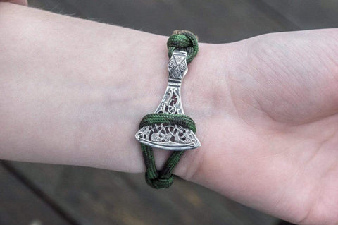 Ancient Smithy VW jewelry SILVER Coyote Paracord Bracelet with Viking Axe and Norse Rune Sterling Silver Jewelry SAB-R-002