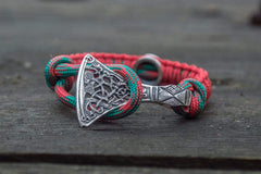 Ancient Smithy VW jewelry SILVER Red Paracord Bracelet with Sterling Silver Viking Axe and Norse Rune Jewelry SAB-R-004