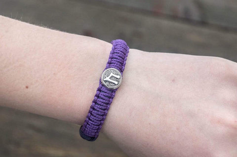 Ancient Smithy VW jewelry SILVER Purple Paracord Bracelet with Sterling Silver Viking Axe and Norse Rune Jewelry SAB-R-005