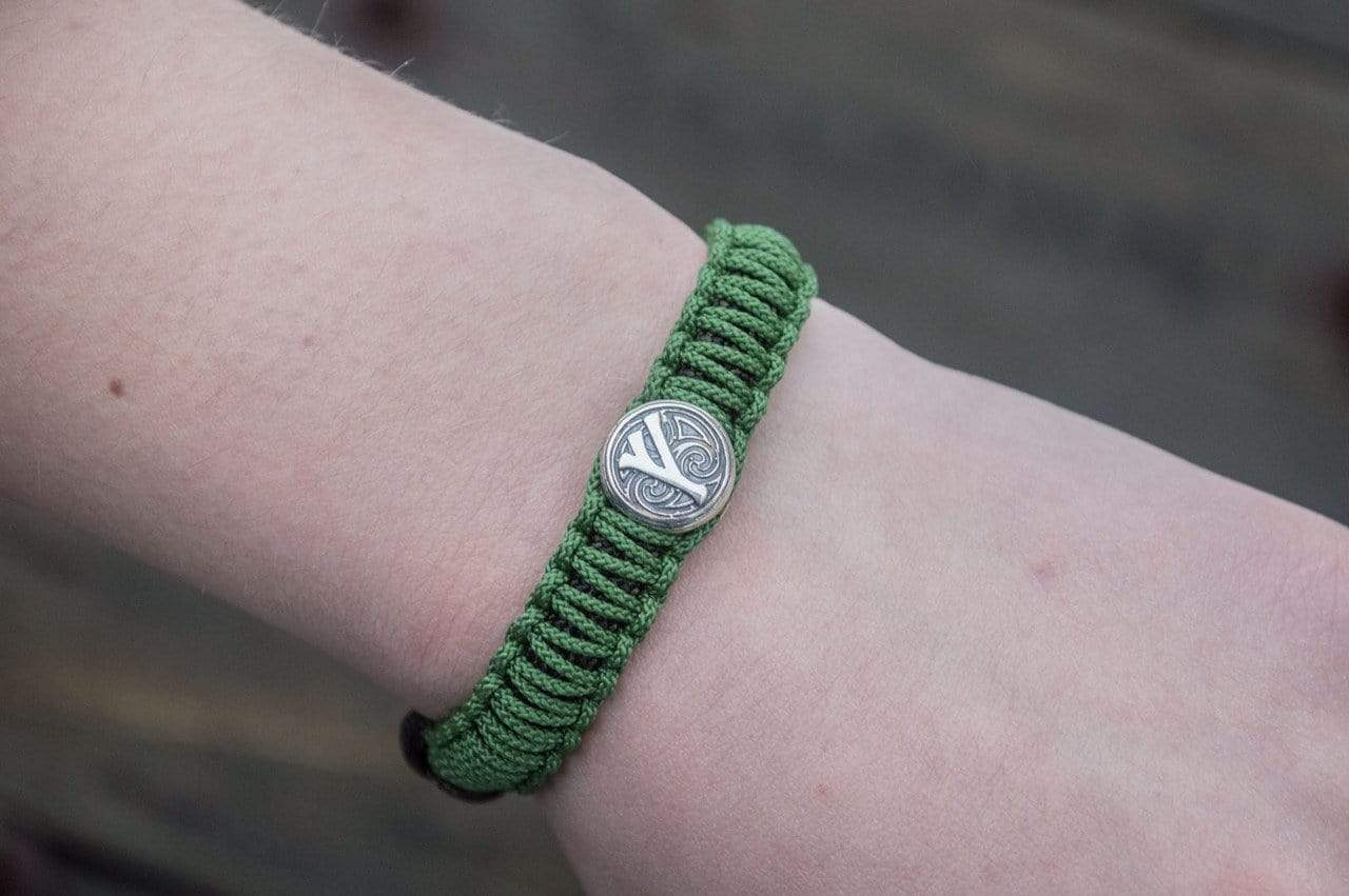 Ancient Smithy VW jewelry SILVER Green Paracord Bracelet with Sterling Silver Viking Axe and Norse Runes Jewelry SAB-R-006