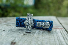 Ancient Smithy VW jewelry Huge Sterling Silver Thors Hammer with Blue Paracord Handcrafted Bracelet SM-002