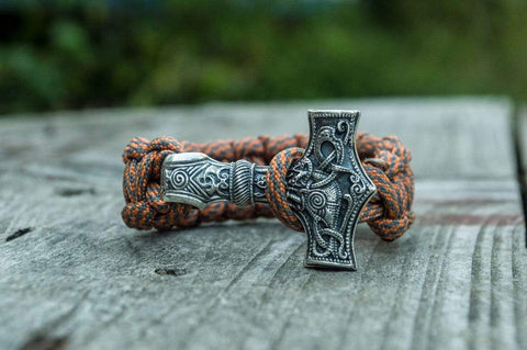 Ancient Smithy VW jewelry Huge Sterling Silver Thors Hammer with Grey Paracord Handcrafted Bracelet SM-005