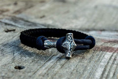 Sterling Silver Thors Hammer Dark Blue with Black Paracord Handcrafted Bracelet