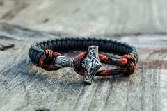 Sterling Silver Thors Hammer Gray with Grayorange Paracord Handcrafted Bracelet