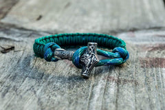 Sterling Silver Thors Hammer Green Paracord Handcrafted Bracelet