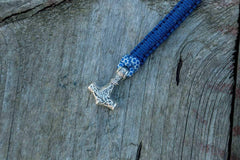 Sterling Silver Thors Hammer Blue with White Paracord Handcrafted Bracelet