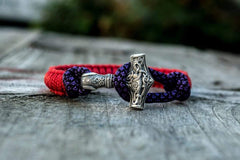 Ancient Smithy VW jewelry SILVER Sterling Silver Thors Hammer Red With Purple Paracord Handcrafted Bracelet SM-Small-024