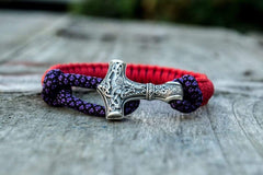 Sterling Silver Thors Hammer Red With Purple Paracord Handcrafted Bracelet