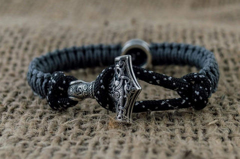 Ancient Smithy VW jewelry SILVER Small Black and Green Paracord Bracelets with Sterling Silver Mjolnir and Valknut Symbol SSM-Small-001