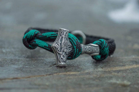 Small Green Paracord Bracelets with Sterling Silver Mjolnir and Valknut Symbol