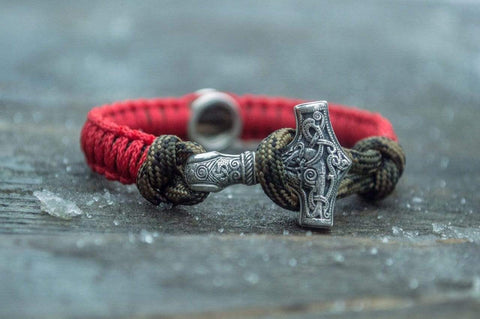 Ancient Smithy VW jewelry SILVER Small Red and Coyote Paracord Bracelets with Sterling Silver Mjolnir and Valknut Symbol SSM-Small-004