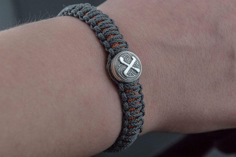 Ancient Smithy VW jewelry SILVER Grey and Orange Paracord Bracelets with Sterling Silver Small Thors Hammer and Rune SSM-Small-006