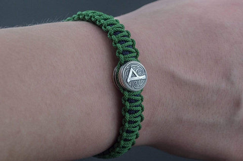 Ancient Smithy VW jewelry SILVER Green and Blue Paracord Bracelets with Small Sterling Silver Thors Hammer with Rune SSM-Small-007