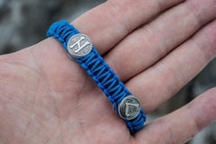 Ancient Smithy VW jewelry SILVER Small Sterling Silver Thors Hammer with Norse Runes and Blue Paracord Bracelets SSM-Small-010