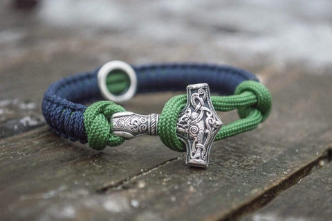 Ancient Smithy VW jewelry SILVER Small Sterling Silver Thors Hammer with Norse Rune and Blue with Green Paracord Bracelets SSM-Small-012