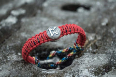 Ancient Smithy VW jewelry SILVER Small Sterling Silver Thors Hammer with Norse Runes Red Paracord Handmade Bracelets SSM-Small-015