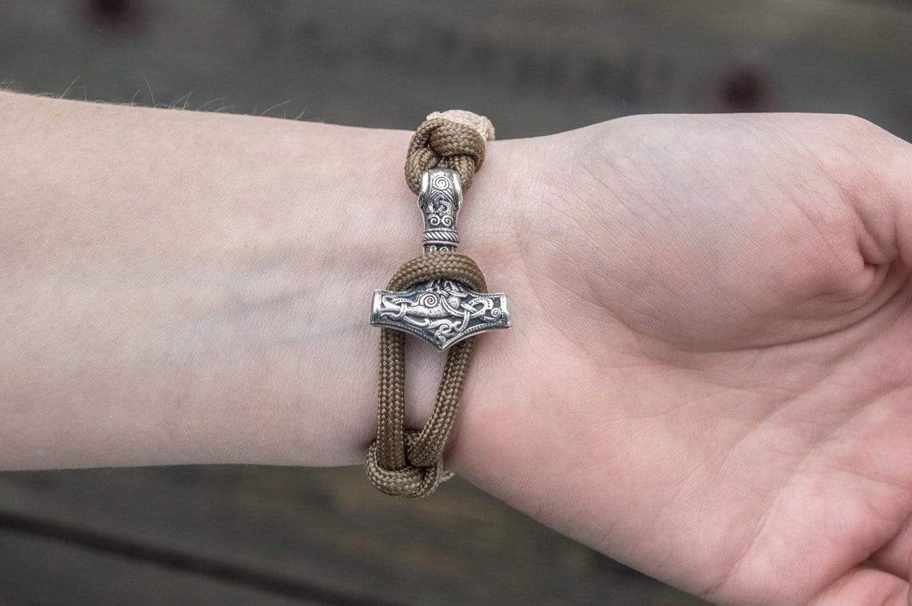 Ancient Smithy VW jewelry SILVER Coyote Paracord Bracelet with Viking Hammer and Norse Runes Jewelry SSM-Small-016