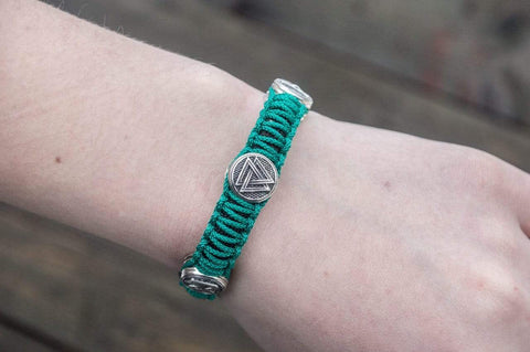 Ancient Smithy VW jewelry SILVER Green Paracord Bracelet with Norse Rune Sterling Silver Handmade Jewelry SSM-Small-017