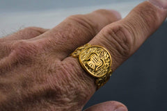 Ancient Smithy VW Rings Exclusive Beautifully crafted Gold Ring with Raven Nordic Jewelry