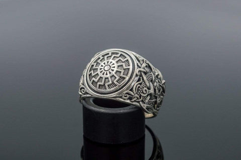 Ancient Smithy VW Rings Black Sun Ring with Mammen Ornament Sterling Silver Viking Jewelry