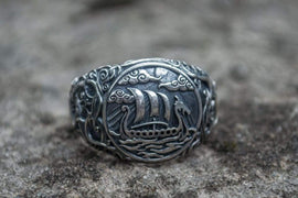 "Ancient Smithy VW Rings Warship Longship  Ring  ""Dragon Ships"