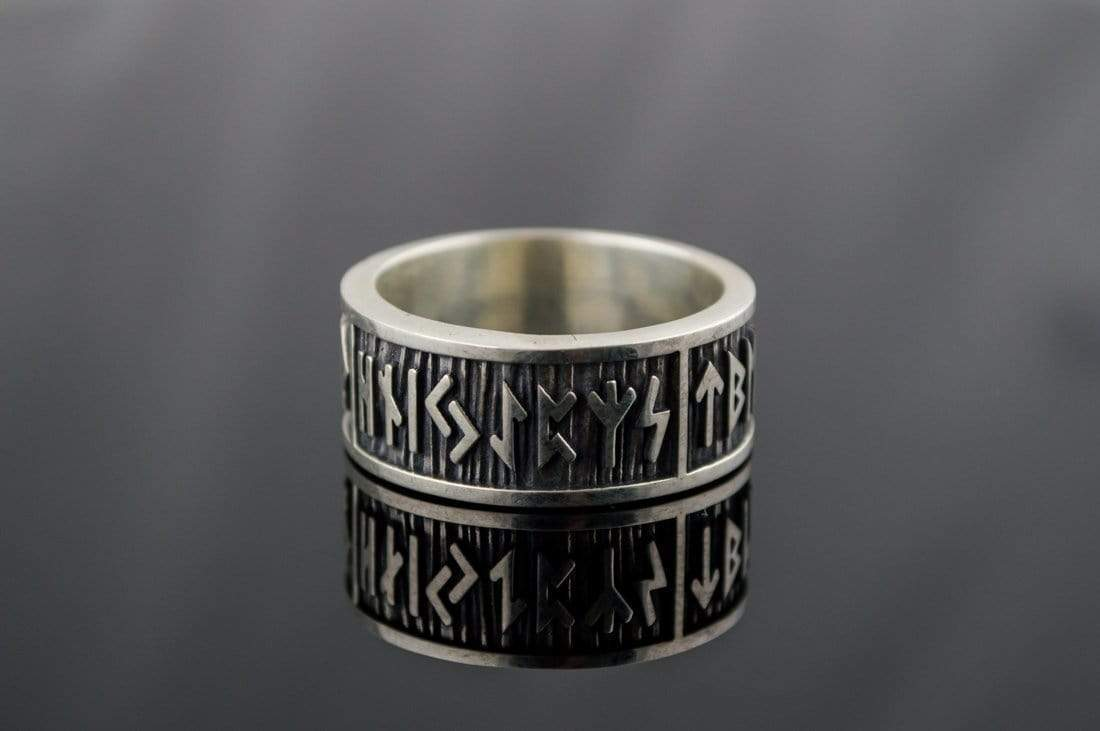 Ancient Smithy VW Rings Elder Futhark Runes Ring with Wide Rim Sterling Silver Viking Jewelry
