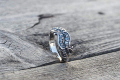 Ancient Smithy VW Rings Handmade Ring with Runes Symbol Sterling Silver Viking Jewelry