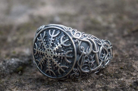 "Ancient Smithy VW Rings Ancient Skandinavian Symbol "" Aegishjalmur "" Ring  Nordic Talisman Jewelry"