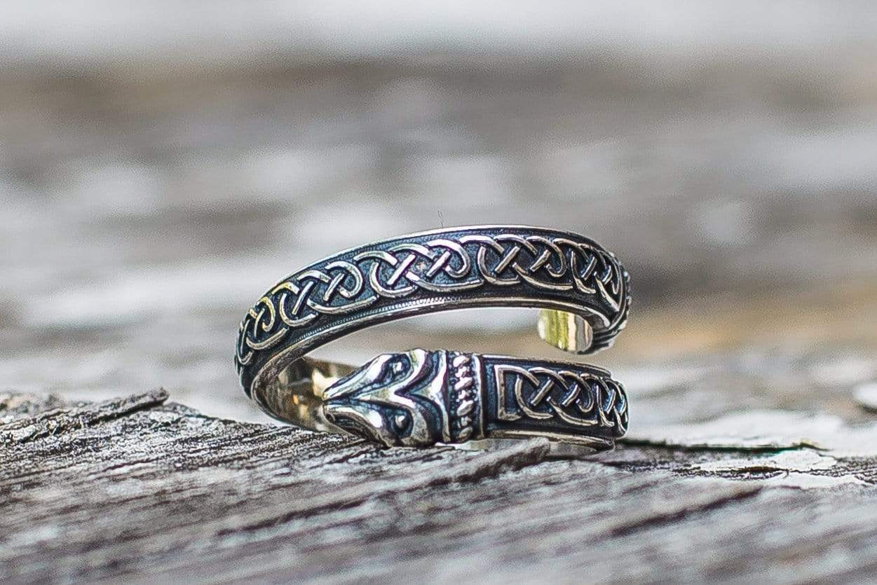 "Ancient Smithy VW Rings The ""Midgard Serpent"" Norse mythology Ring  Sterling Silver Jewelry"