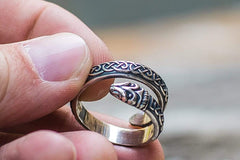 Ancient Smithy VW Rings Jormungand Ring with Viking Ornament Sterling Silver Viking Jewelry