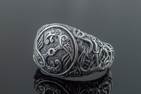 Odin Raven Symbol Ring with Urnes Style Sterling Silver Viking Jewelry - PremiumHandmadeUa