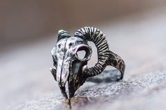 Ancient Smithy VW Rings Ram Skull Ring Sterling Silver Unique Animal Jewelry