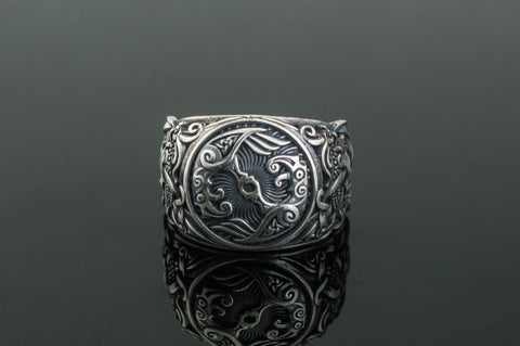 Ancient Smithy VW Rings Huginn and Muninn Raven Sterling Silver  Ring with Decoration Pagan Jewelry