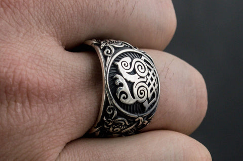 Ancient Smithy VW Rings Odin's  horse (Sleipnir) Ring with decoration Norse & Viking Mythos Jewelry